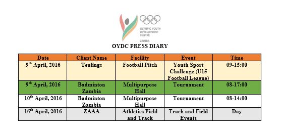 Media Advisory: Attached is a list of activities scheduled to take place at the Olympic Youth Development Centre.